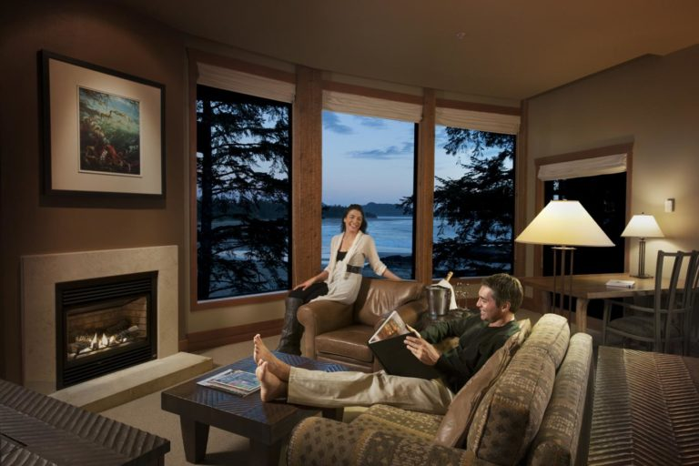 beautiful room with a stunning view at the Wickaninnish Inn in Tofino