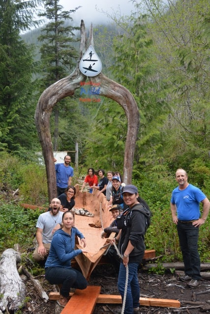 Joe Martin leads canoe carving ceremony in Ha'uukmin Tribal Park