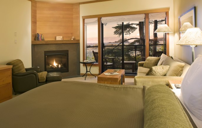 Beautiful room at the Wickaninnish Inn with a stunning view.