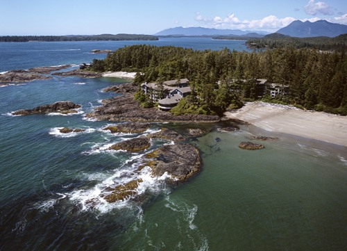 Aerial view of the Wickaninnish Inn in Tofino