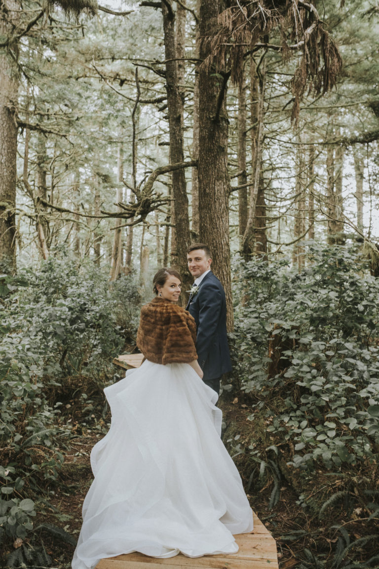 Tofino Wedding Photo Co. with wedding couple in the forest