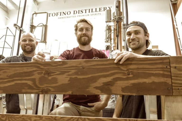 photo of the 3 people involved in the new Tofino Distillery