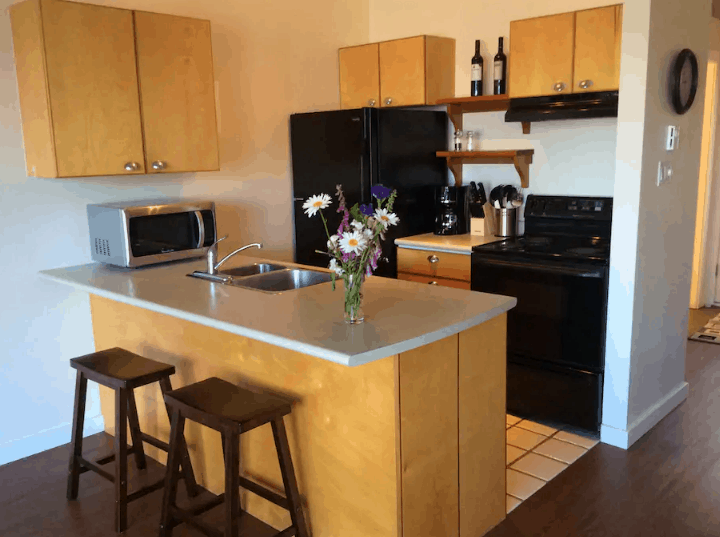 kitchen of harbourfront guest suite Tofino