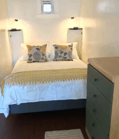 bedroom of harbourfront guest suite Tofino