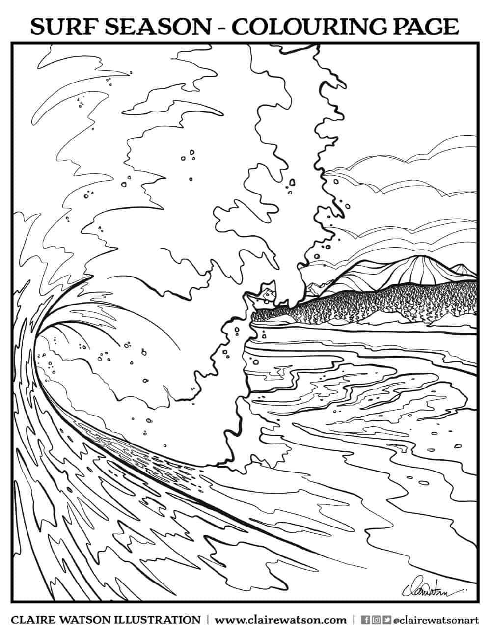 Clair_Watson_colouring_page: Surf_Season