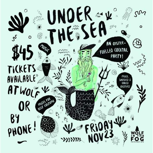 Poster for Under the Sea Oyster-fueled cocktail party at Wolf in the Fog