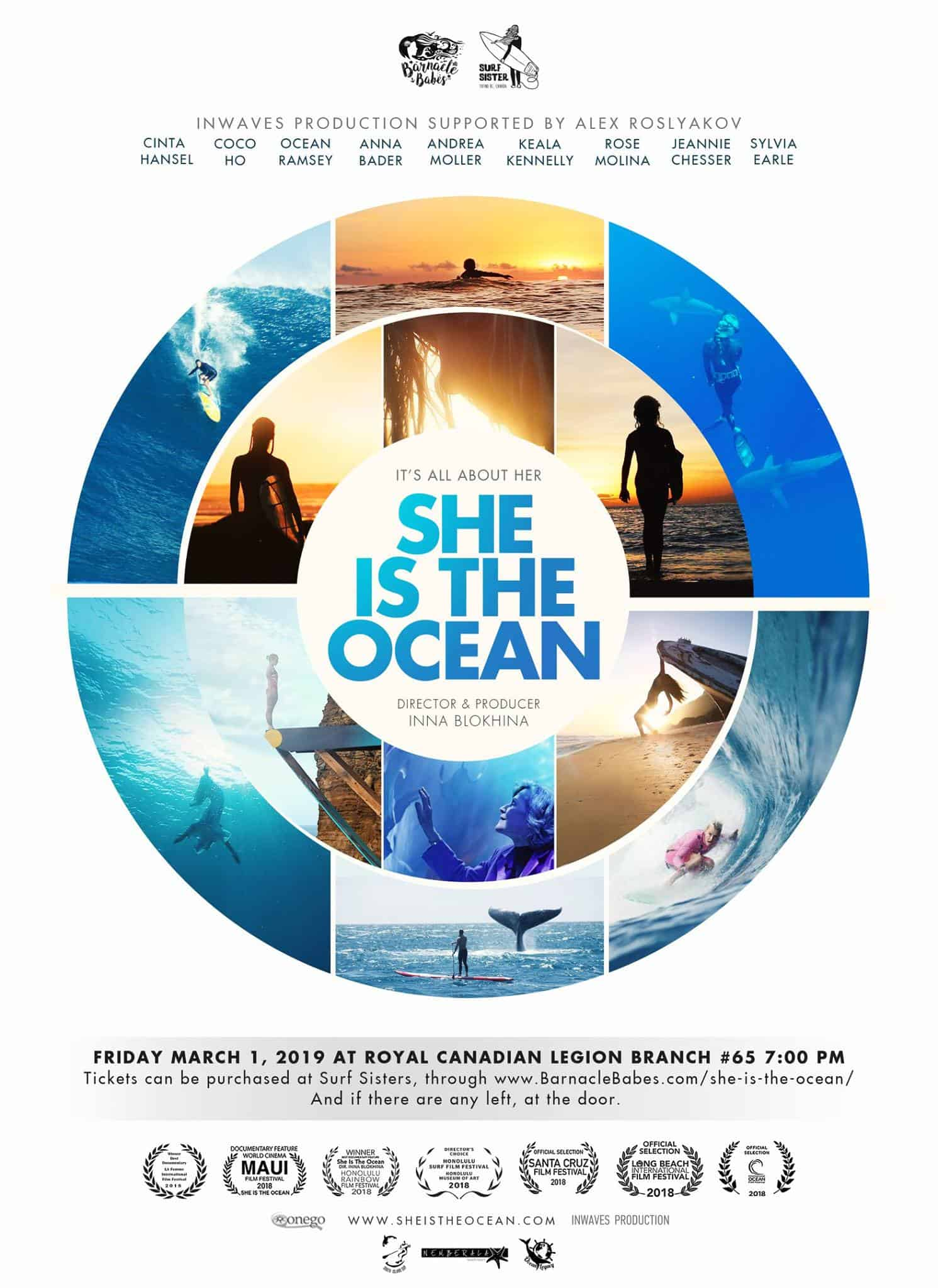 Poster for She is the Ocean Film Screening, March 1, 2019
